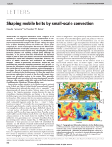 Shaping mobile belts by small-scale convection