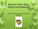 Words Their Way Book Orientation