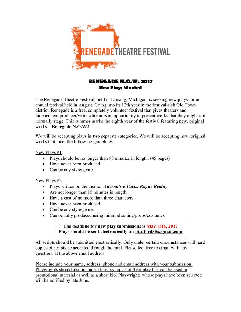 renegade now 2017 - Renegade Theatre Festival