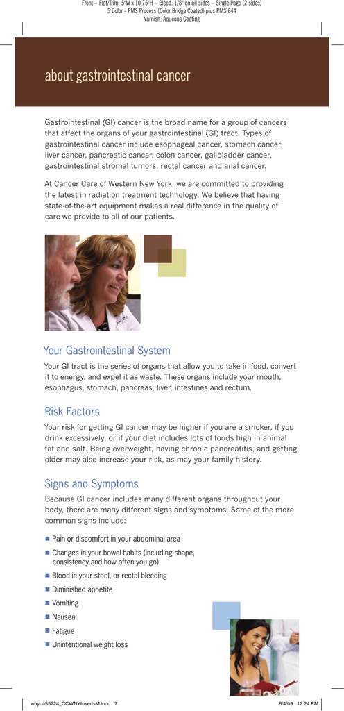 Gastrointestinal (GI) Cancer Information Sheet