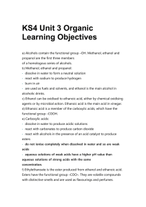 KS4 Unit 3 Organic Learning Objectives