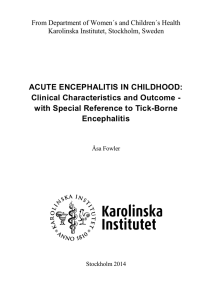 ACUTE ENCEPHALITIS IN CHILDHOOD: Clinical Characteristics