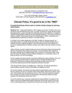 "Climate Policy: It`s good to be in the ""RED"""