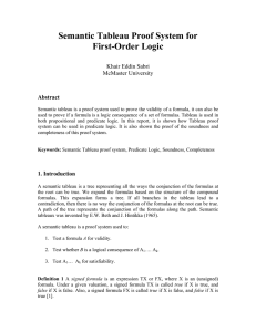 Semantic Tableau Proof System for First-Order Logic