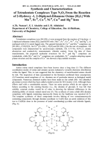 Synthesis and Characterization of Tetradentate Complexes Type