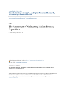 The Assessment of Malingering Within Forensic Populations