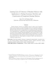 Limiting Laws of Coherence of Random Matrices with Applications