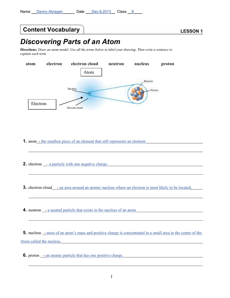 Lesson 1 Discovering Parts Of An Atom Denny S E