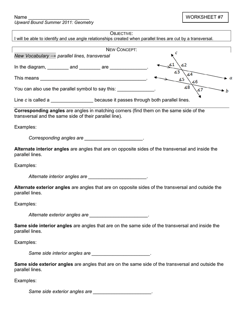 Worksheet 7 New Vocabulary Parallel Lines Transversal In