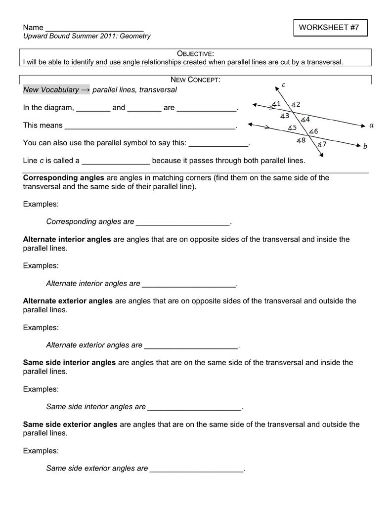 worksheet Parallel Lines Cut By Transversal Worksheet worksheet 7 new vocabulary parallel lines transversal in