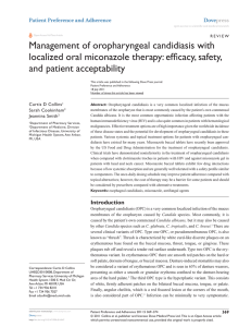 Management of oropharyngeal candidiasis with localized oral