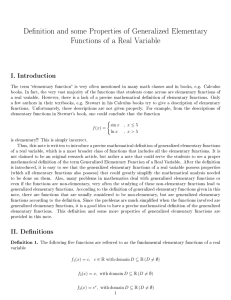 De nition and some Properties of Generalized Elementary Functions