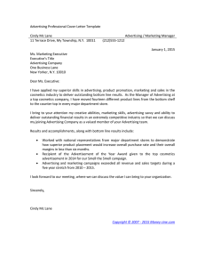 Advertising Professional Cover Letter Template - Money