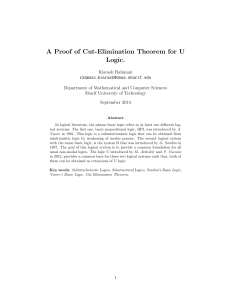 A Proof of Cut-Elimination Theorem for U Logic.