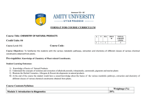 Course Title: CHEMISTRY OF NATURAL PRODUCTS