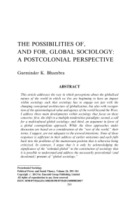 The Possibilities of, and for, Global Sociology: A Postcolonial