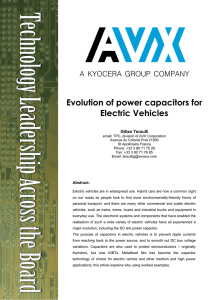 Evolution of power capacitors for Electric Vehicles