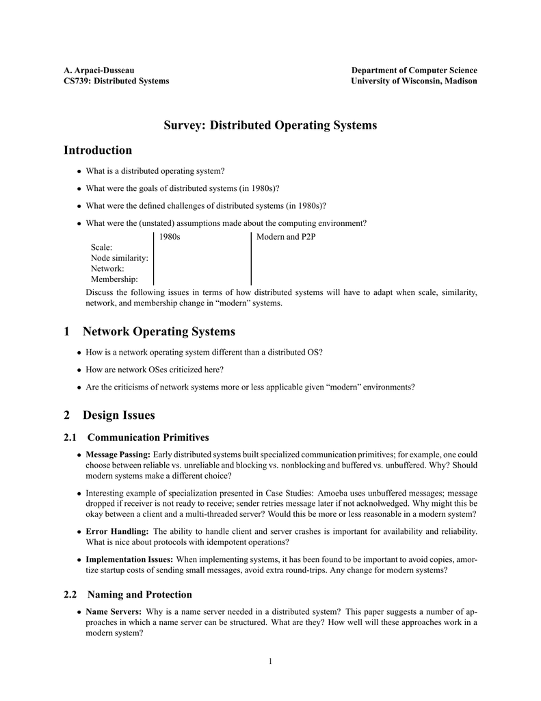 Survey Distributed Operating Systems Introduction 1 Network