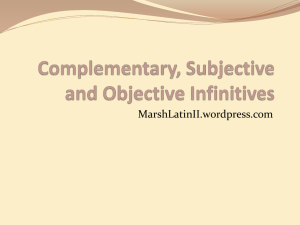 Complementary and Supplementary Infinitives