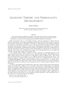 Learning Theory and Personality Development