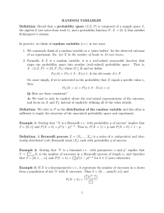 RANDOM VARIABLES Definition: Recall that a probability space (S