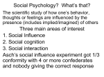 Social Psychology? What`s that? Three main areas of interest 1