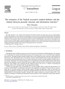 The semantics of the Turkish accusative marked