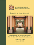Report to the House of Assembly AUDITOR GENERAL