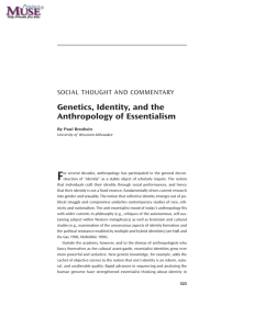 Genetics, Identity, and the Anthropology of Essentialism