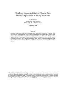 Employer Access to Criminal History Data and the Employment of