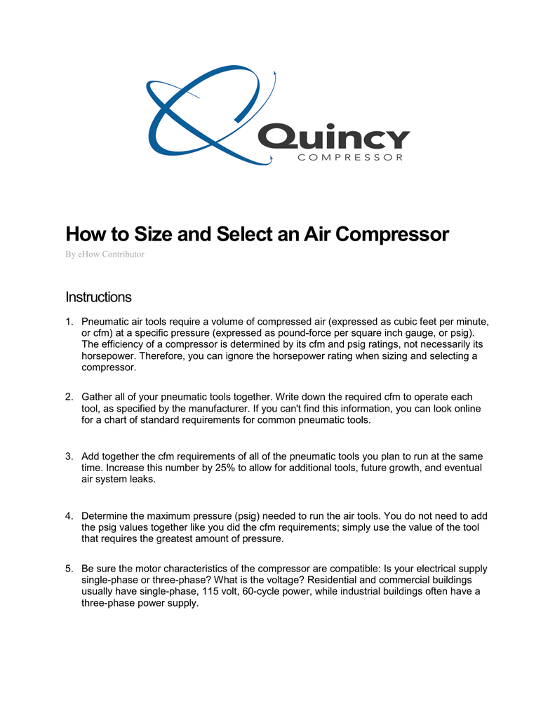 How to Size and Select an Air Compressor