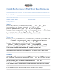 Sports Performance Nutrition Questionnaire