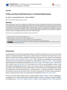 Culture and Sexual Self-Disclosure in Intimate Relationships