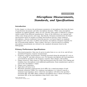 Microphone Measurements, Standards, and Specifications