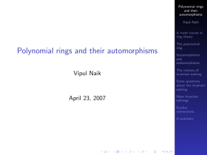 PDF Polynomial rings and their automorphisms