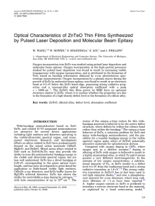 Optical Characteristics of ZnTeO Thin Films Synthesized by Pulsed