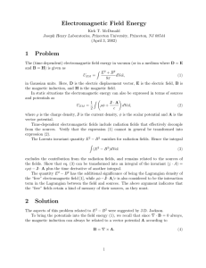 Electromagnetic Field Energy - Physics Department, Princeton