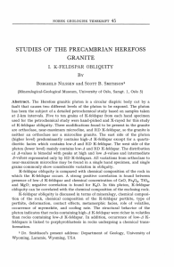 STUDIES OF THE PRECAMBRIAN HEREFOSS GRANITE