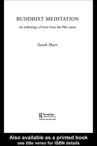 Buddhist Meditation: An anthology from the Pali canon