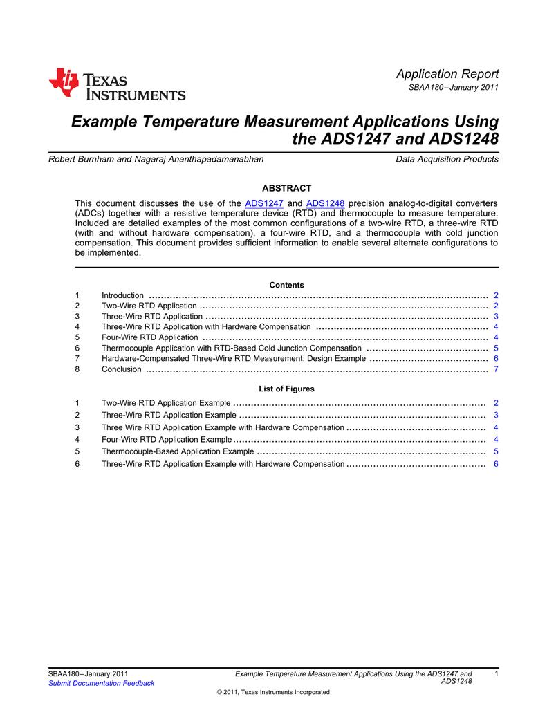 Example Temperature Measurement Applications Using the