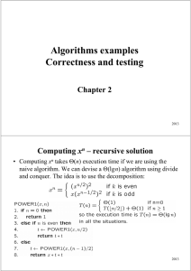 Algorithms examples Correctness and testing