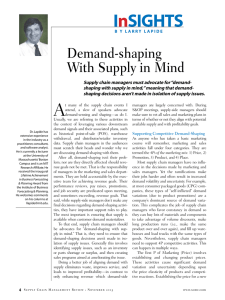 Demand-shaping With Supply in Mind