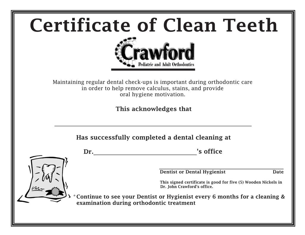 Certificate Of Clean Teeth