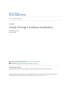 A study of George S. Kaufman`s metatheatrics
