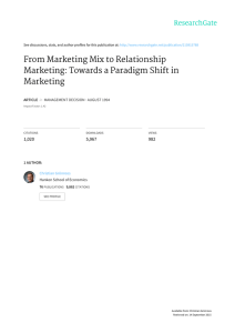 From Marketing Mix to Relationship Marketing