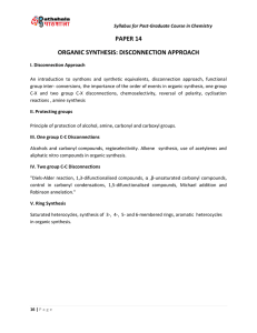 paper 14 organic synthesis: disconnection approach - e