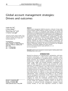 Global account management strategies: Drivers and outcomes