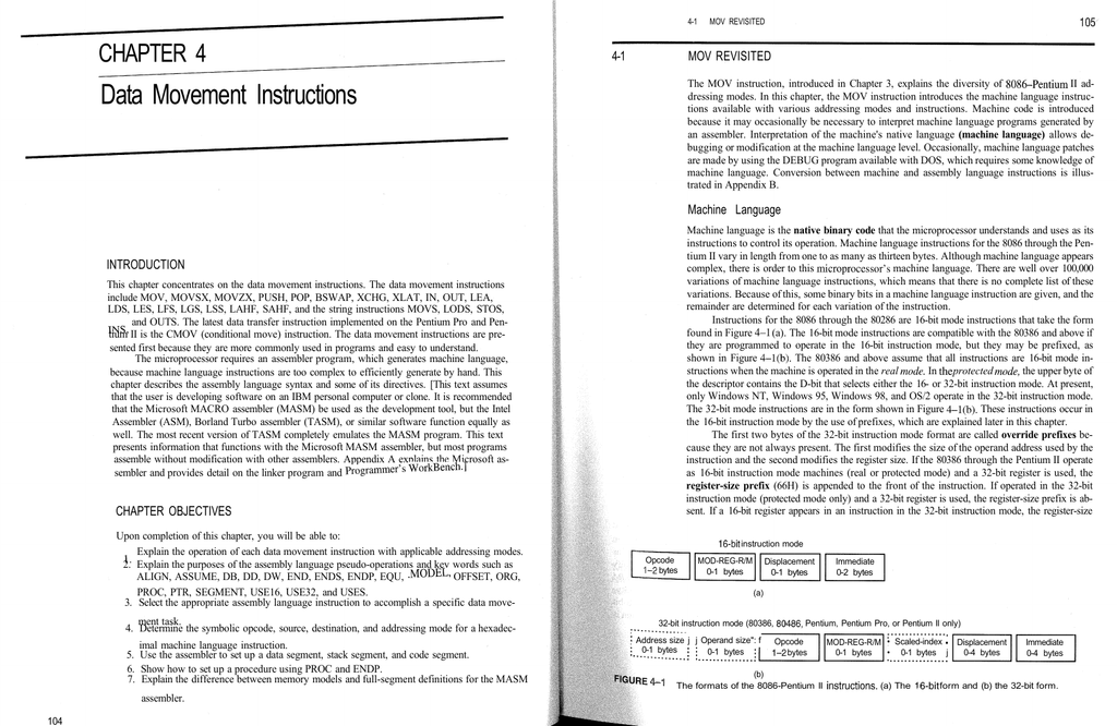 Data Movement Instructions The MOV instruction