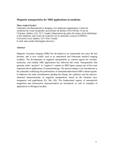 Magnetic nanoparticles for MRI applications in medicine