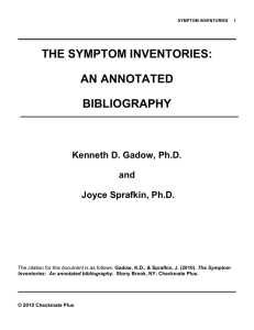 SYMPTOM INVENTORIES 1 THE SYMPTOM INVENTORIES: AN